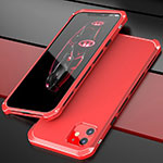 Funda Lujo Marco de Aluminio Carcasa T02 para Apple iPhone 11 Rojo