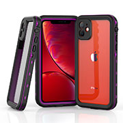 Funda Impermeable Bumper Silicona y Plastico Waterproof Carcasa 360 Grados W03 para Apple iPhone 11 Morado