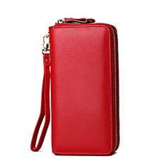 Bolso Cartera Protectora de Cuero Universal H21 para Xiaomi Poco M3 Rojo