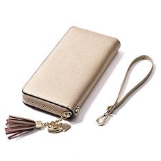 Bolso Cartera Protectora de Cuero Universal H24 para LG K92 5G Oro
