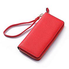 Bolso Cartera Protectora de Cuero Universal H26 para Huawei Mate 9 Lite Rojo