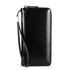 Bolso Cartera Protectora de Cuero Universal H32 para Xiaomi Poco M3 Negro