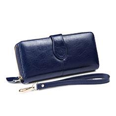 Bolso Cartera Protectora de Cuero Universal H33 para Oneplus 7 Azul