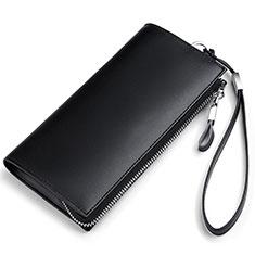 Bolso Cartera Protectora de Cuero Universal H34 para Apple iPhone 11 Pro Negro