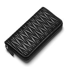 Bolso Cartera Protectora de Cuero Universal H35 para Xiaomi Poco M3 Negro