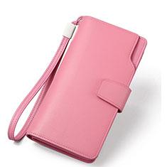 Bolso Cartera Protectora de Cuero Universal H38 para Xiaomi Poco M3 Rosa