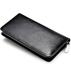 Bolso Cartera Protectora de Cuero Universal H39 para LG K92 5G Negro