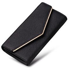 Bolso Cartera Protectora de Cuero Universal K03 para Xiaomi Poco M3 Negro