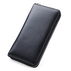 Bolso Cartera Protectora de Cuero Universal K05 para Xiaomi Poco M3 Negro