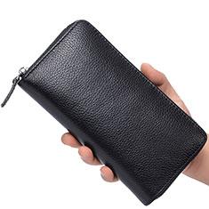 Bolso Cartera Protectora de Cuero Universal K07 para Xiaomi Poco M3 Negro