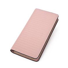 Bolso Cartera Protectora de Cuero Universal K10 para Xiaomi Poco M3 Rosa
