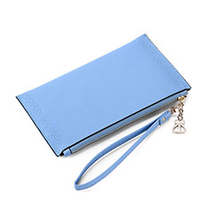 Bolso Cartera Protectora de Cuero Universal K15 para Apple iPhone 12 Mini Azul