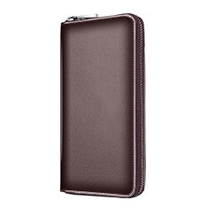 Bolso Cartera Protectora de Cuero Universal K18 para Apple iPhone 8 Plus Marron