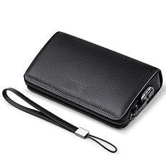 Bolso Cartera Protectora de Cuero Universal K19 para Apple iPhone 12 Mini Negro
