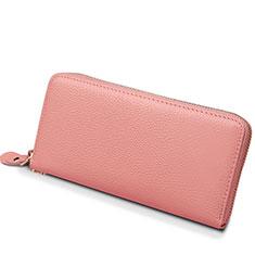 Bolso Cartera Protectora Funda de Cuero Lichee Patron Universal H25 para LG K92 5G Rosa