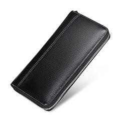Bolso Cartera Protectora Funda de Cuero Lichee Patron Universal H36 para Sony Xperia XA3 Ultra Negro