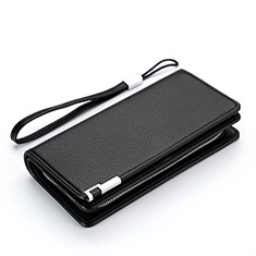 Bolso Cartera Protectora Funda de Cuero Lichee Patron Universal H37 para LG K92 5G Negro