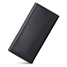 Bolso Cartera Protectora Funda de Cuero Lichee Patron Universal para Xiaomi Poco M3 Negro