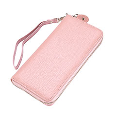 Bolso Cartera Protectora Funda de Cuero Lichee Patron Universal para LG K92 5G Rosa