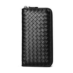 Bolso Cartera Protectora Funda de Cuero Patron Tejido Universal para Xiaomi Poco M3 Negro
