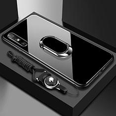 Carcasa Bumper Funda Silicona Espejo con Anillo de dedo Soporte para Huawei Enjoy 10e Negro