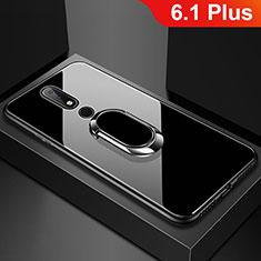 Carcasa Bumper Funda Silicona Espejo con Anillo de dedo Soporte para Nokia 6.1 Plus Negro