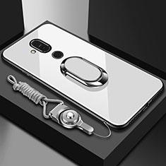 Carcasa Bumper Funda Silicona Espejo con Anillo de dedo Soporte para Nokia 7.1 Plus Blanco