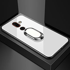 Carcasa Bumper Funda Silicona Espejo con Anillo de dedo Soporte para Nokia 7 Plus Blanco