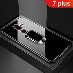 Carcasa Bumper Funda Silicona Espejo con Anillo de dedo Soporte para Nokia 7 Plus Negro