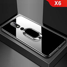 Carcasa Bumper Funda Silicona Espejo con Anillo de dedo Soporte para Nokia X6 Negro