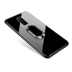 Carcasa Bumper Funda Silicona Espejo con Anillo de dedo Soporte para Samsung Galaxy A6 Plus Negro