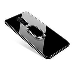 Carcasa Bumper Funda Silicona Espejo con Anillo de dedo Soporte para Samsung Galaxy A9 Star Lite Negro