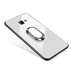 Carcasa Bumper Funda Silicona Espejo con Anillo de dedo Soporte para Samsung Galaxy J7 Prime Blanco