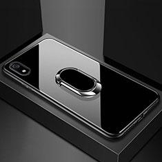 Carcasa Bumper Funda Silicona Espejo con Magnetico Anillo de dedo Soporte A01 para Xiaomi Redmi 7A Negro