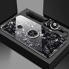 Carcasa Bumper Funda Silicona Espejo con Magnetico Anillo de dedo Soporte M01 para Huawei Honor 7A Negro