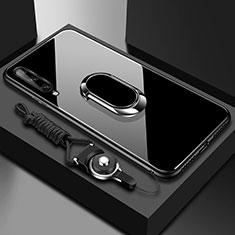 Carcasa Bumper Funda Silicona Espejo con Magnetico Anillo de dedo Soporte para Huawei Enjoy 10S Negro