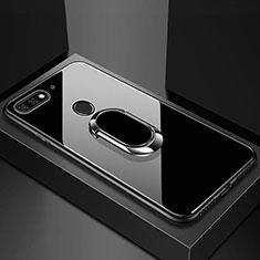 Carcasa Bumper Funda Silicona Espejo con Magnetico Anillo de dedo Soporte para Huawei Enjoy 8e Negro