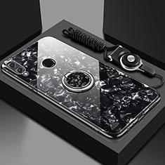 Carcasa Bumper Funda Silicona Espejo con Magnetico Anillo de dedo Soporte para Huawei Enjoy 9 Plus Negro