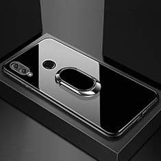 Carcasa Bumper Funda Silicona Espejo con Magnetico Anillo de dedo Soporte para Huawei Honor 8X Negro
