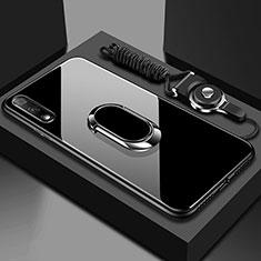 Carcasa Bumper Funda Silicona Espejo con Magnetico Anillo de dedo Soporte para Huawei Honor 9X Negro