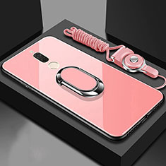 Carcasa Bumper Funda Silicona Espejo con Magnetico Anillo de dedo Soporte para Huawei Nova 2i Oro Rosa