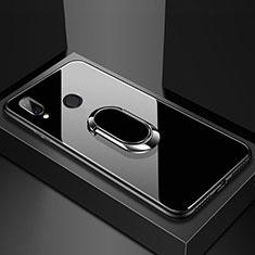 Carcasa Bumper Funda Silicona Espejo con Magnetico Anillo de dedo Soporte para Huawei Nova 3e Negro