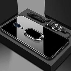 Carcasa Bumper Funda Silicona Espejo con Magnetico Anillo de dedo Soporte para Realme X Negro