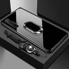 Carcasa Bumper Funda Silicona Espejo con Magnetico Anillo de dedo Soporte para Realme X50m 5G Negro