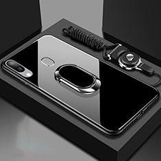 Carcasa Bumper Funda Silicona Espejo con Magnetico Anillo de dedo Soporte para Samsung Galaxy A30 Negro
