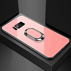 Carcasa Bumper Funda Silicona Espejo con Magnetico Anillo de dedo Soporte para Samsung Galaxy S8 Oro Rosa