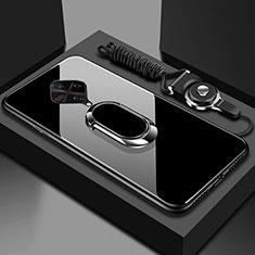 Carcasa Bumper Funda Silicona Espejo con Magnetico Anillo de dedo Soporte para Vivo X50 Lite Negro