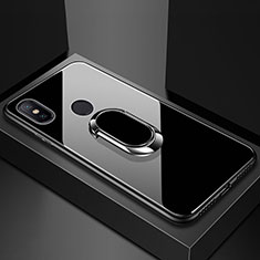 Carcasa Bumper Funda Silicona Espejo con Magnetico Anillo de dedo Soporte para Xiaomi Mi Max 3 Negro
