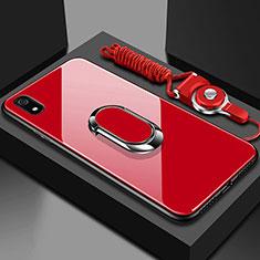 Carcasa Bumper Funda Silicona Espejo con Magnetico Anillo de dedo Soporte para Xiaomi Redmi 7A Rojo