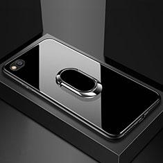 Carcasa Bumper Funda Silicona Espejo con Magnetico Anillo de dedo Soporte para Xiaomi Redmi Go Negro